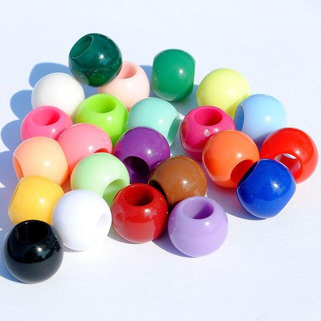 Акриловые шарики с большим отверстием 10 мм круглые жемчужные
