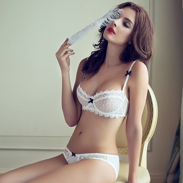dc794767d3 fashion summer sexy lace white ultra-thin bra breathable gauze deep V-neck  women s push up underwear set