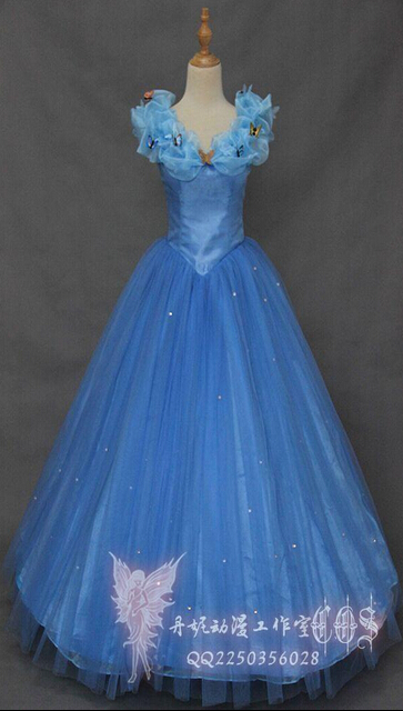 New Movie Deluxe Blue Cinderella Dress Cosplay Costume Party Dress Princess Dress Adult Cinderella Costume