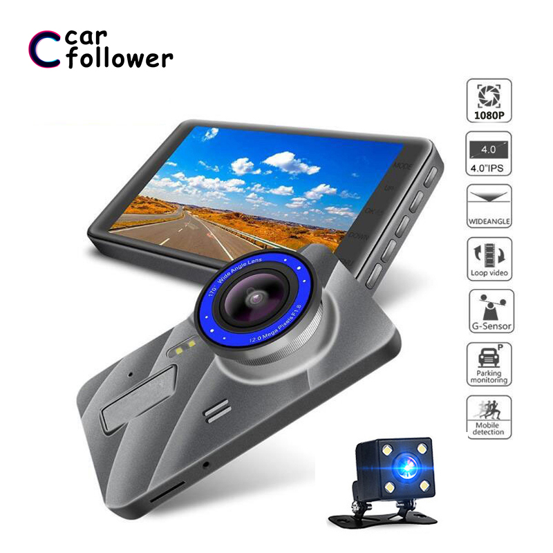 Full HD 1080P Car DVR 4 Inch IPS Screen Car Camera Dual Lens Dash Cam Video Recorder Night Vision G-sensor Registrator(China)