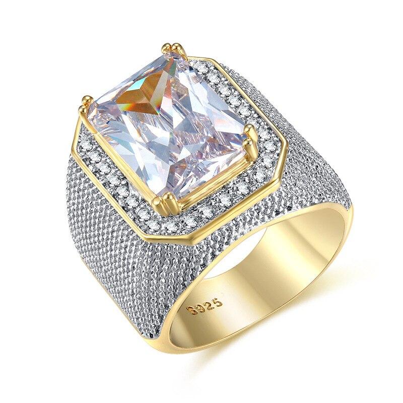 4a0f95203d4e Anillos de moda cuadrado de gran ancho anillos de color oro hombre dedo  Cubic Zirconia piedra grande anillo de los hombres joyería de anel nuevo