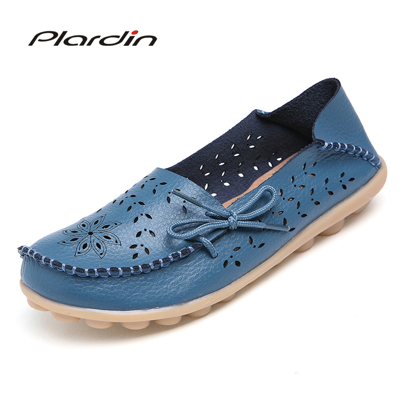 Plardin 2019 Spring Summer Women Flats Shoes Women Genuine Leather Shoes Woman Cutout Loafers Slip On Ballet Flats Boat Shoes