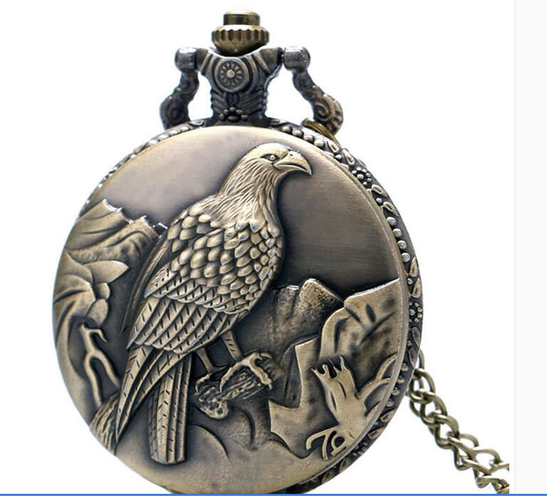Antique Bronze Clock Eagle Pocket Watch With Necklace Chain For Man Women Free Shipping LP63