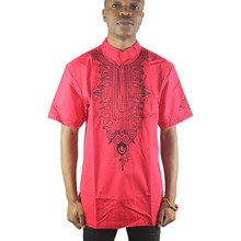 Africa Red Ethnic Culture Embroidered Men`s Tops Button Neck Short Sleeved Caftan Shirts for Summer Wearings