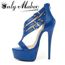 Onlymaker Cross strap Sandals Shoes Women's Summer shoes Stiletto 17cm Heel Pumps Shoes Red Bottom Platform Sandals Plus Size 15