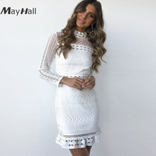 Mayhall Mock neck Women White Lace Dresses Hollow out Mini Full Sleeve dress 2018 Party vestidos mujer robe femme MH031
