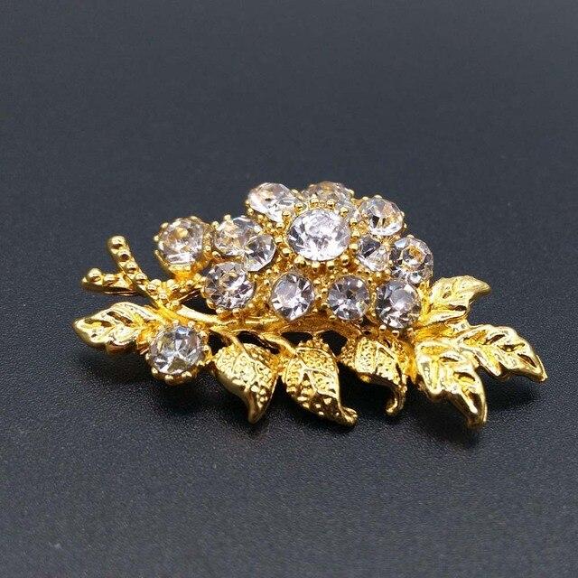 Fiori di cristallo Foglia Donna Spille di Strass di Lusso Fiori Foglie Spille Per La Cerimonia Nuziale Gioielli Sciarpa