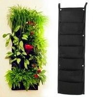 Practical 7 Pockets Hanging Fence Garden Vertical Flower Herbs Wall Planter Black Home Balcony Yard Decoration Green Plants Bag
