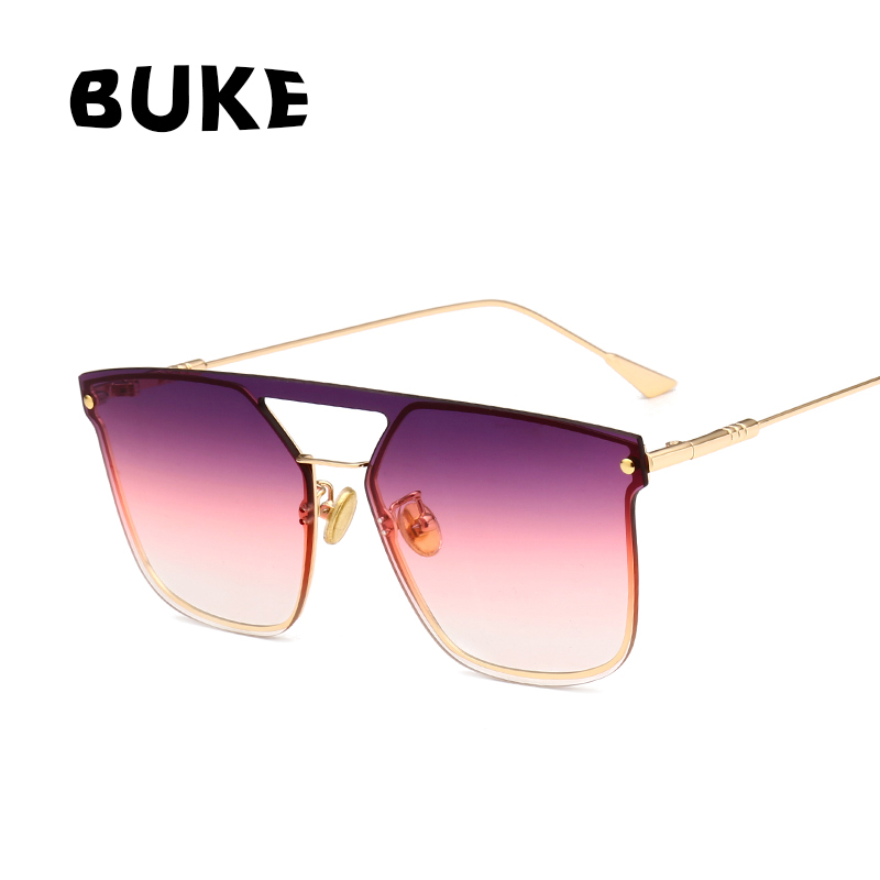 BUKE 2018 New Square Fashion Women Sunglasses Classic Brand Designer Sun glasses Gradient Lens Flat Panel Lens Shades UV400