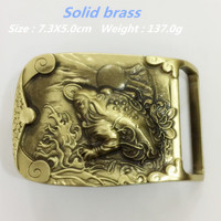 Retail New Style Solid Brass Toad Belt BuckleS 7 3 5cm 137g Yellow Metal Fit 4cm