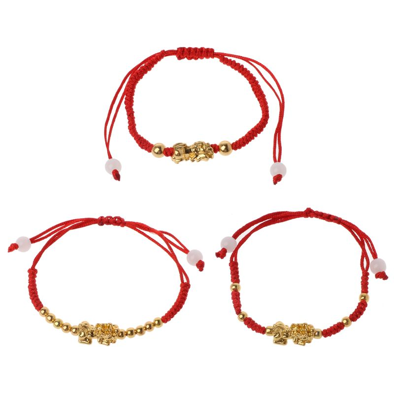 Evil Eye Red String Kabbalah Bracelet Goldfilled Bead Good Luck 2 Pcs