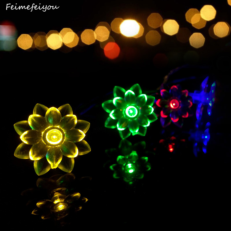 Feimefeiyou Newest Remote Battery Operated lotus String Lights 2m/4m 20/40 LED Flower Fairy Light String for Indoor and Outdoor