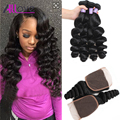 Brazilian Loose Wave With Closure Grade 8A Unprocessed Virgin Human Hair 3 Bundles Brazilian Virgin Hair Loose Wave With Closure
