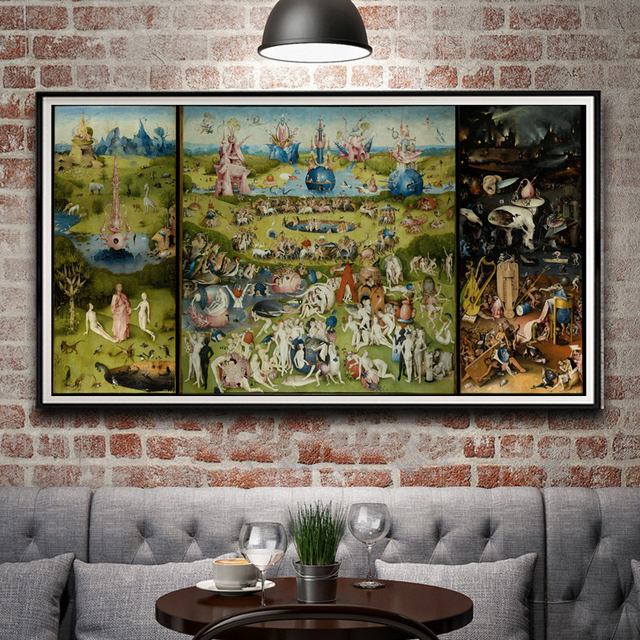 Artwork Painting Garden Earthly Delights Hieronymus Bosch Silk Poster 12×23 14×27 18×35 24×46 Inch