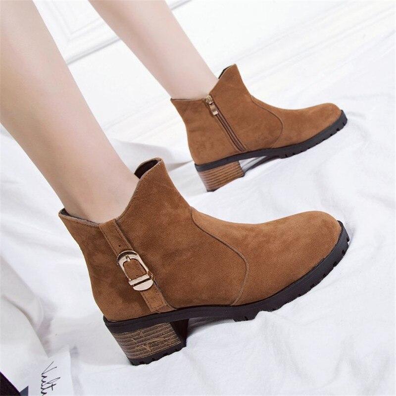 Zapatos Felpa La Botas Invierno Piel Caliente Otoño Martin Feminina Mujeres Tobillo De naranja 2019 Mujer Negro v5qw80X