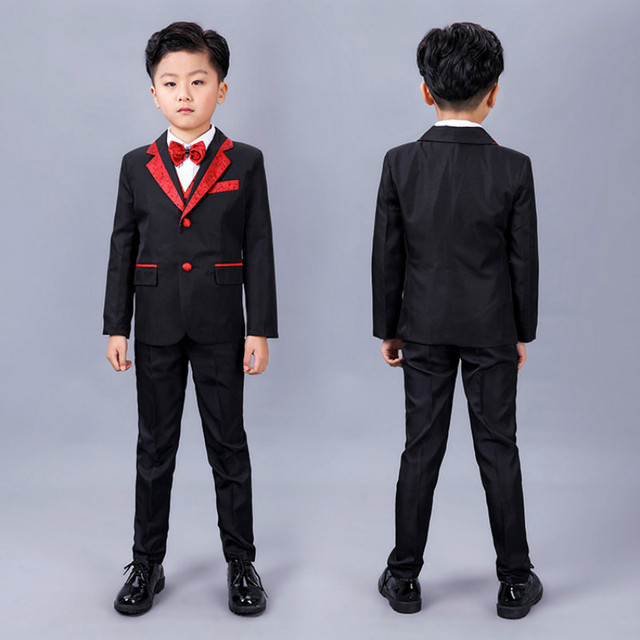603c8b9a1031 Children black formal suits boy blazers set teenagers jacket trendy winter  clothes kids wedding coat outfits party costume