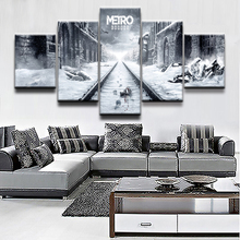 HD Print Painting High Quality Canvas 5 Panel Game Metro Exodus Gas Mask Modular Picture Modern Home Decor Bedroom Wall Art Draw