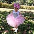 2016 Verano Nuevo Chaleco Del Cordón Del Vestido Del Bebé Niña Princesa vestido 0-18 M de Edad Ropa Chlidren Niños Traje de Fiesta vestido de Bola de Color Rosa
