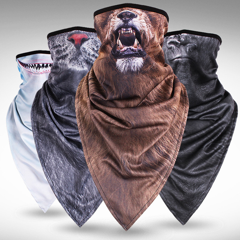 Q998  Plus long triangular animal mask hood mask wind sand breathable outdoor riding neck sets face towel Cycling Masks