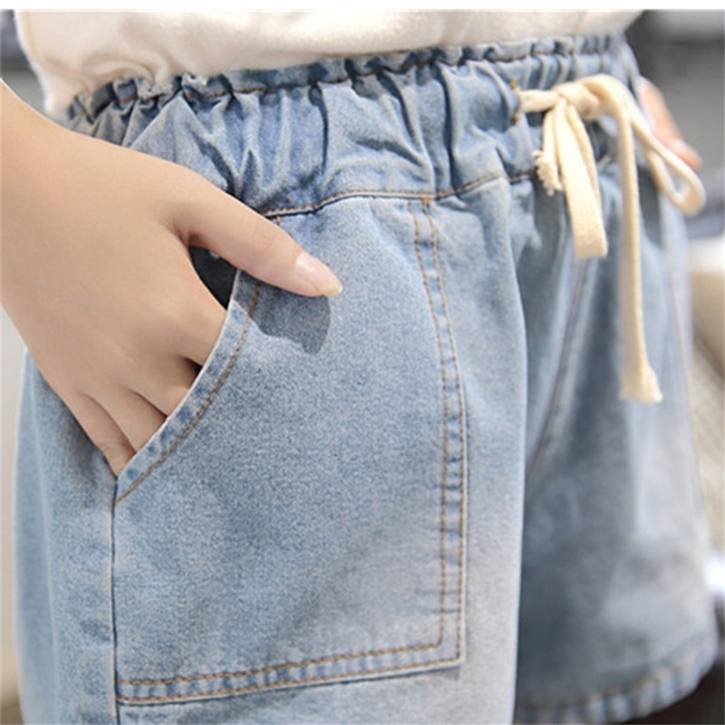 5XL BF Style Summer Wind Female Blue High Waist Denim Shorts Women Worn Loose Burr Hole Jeans Plus Size