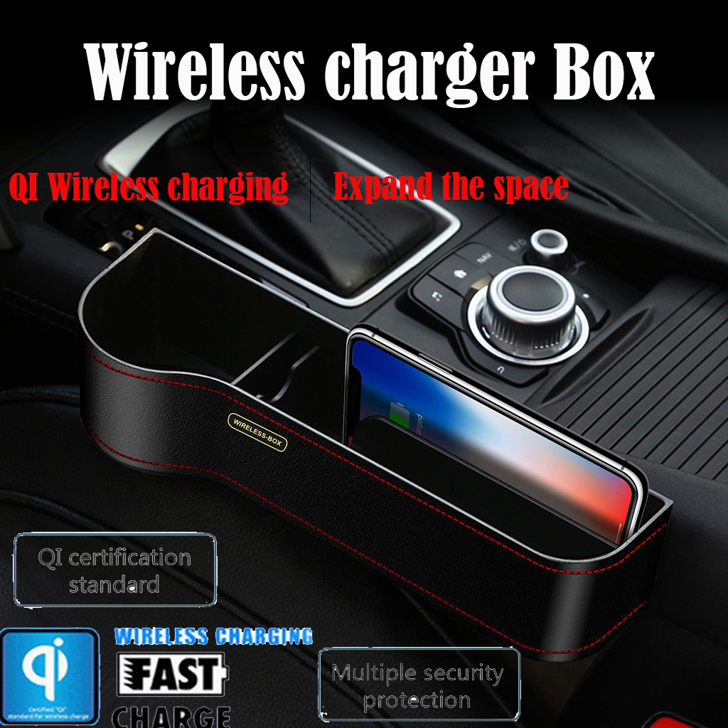 US $20 15 19% OFF|Q7 Qi Wireless Car Charger For Iphone 8 Plus X XR Xs Max  Car Seat Slit Gap Crevice Storage Box Orgainzer Charging Station Holder-in