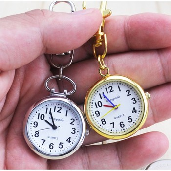 New Charming Key Chain Ring fashion jewelry Pocket Watch necklace bag keychain watch Stainless Steel Quartz relogio kol saati