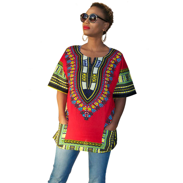 Lady African Dashiki Printed T Shirt Summer Style Short Sleeves Tees Girls  New Design Batik T