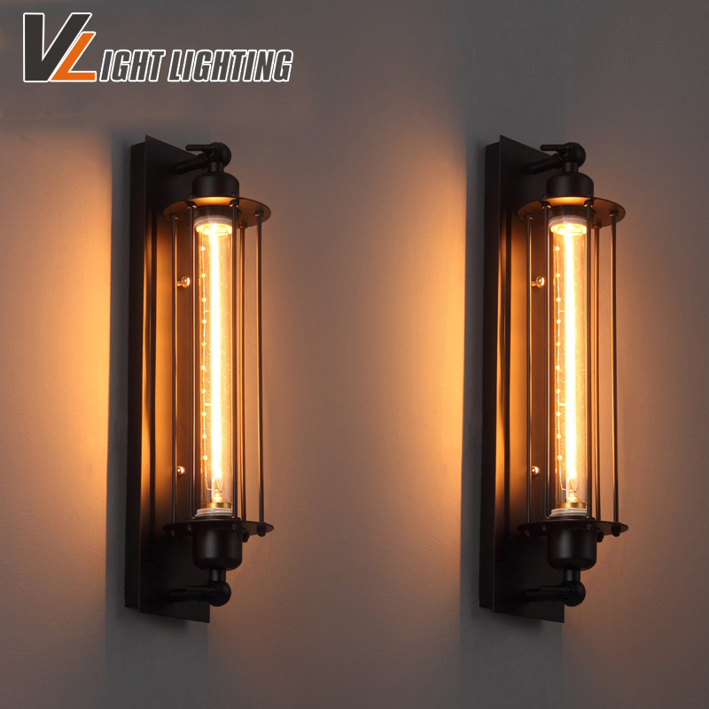 Northern American Industry Retro Antique wall light Edison lamp Surface mounted wall lamp black Iron Painted lampshade light loft american edison vintage industry crystal glass box wall lamp cafe bar coffee shop hall store club