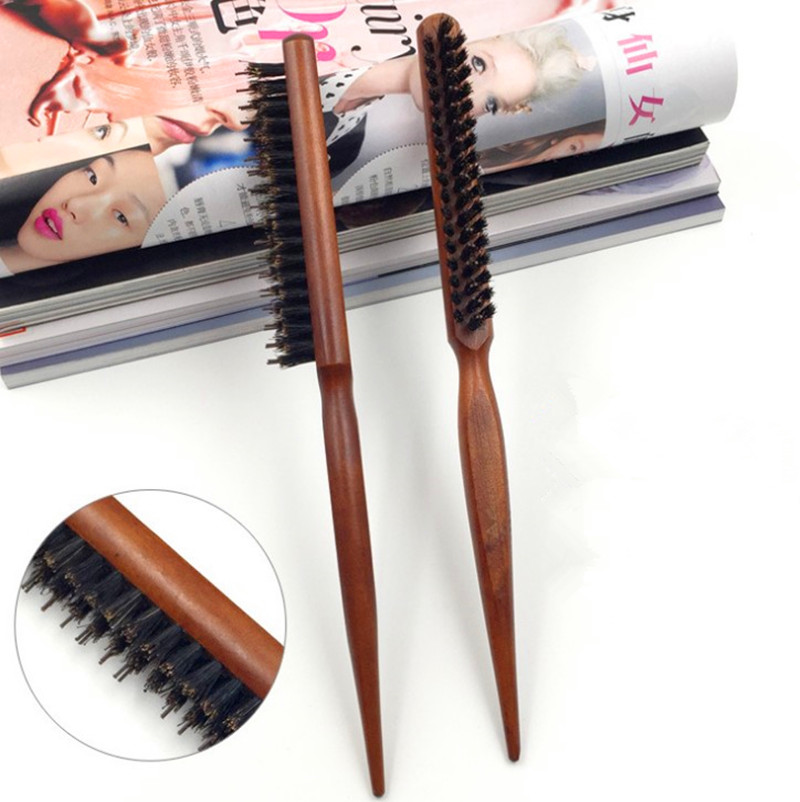 1Pcs Pro Hair Brush Wood Handle Fluffy Bristle Comb Dish Hairdressing Brush Hairstyle Barber Scalp Massage Hair Styling Tool