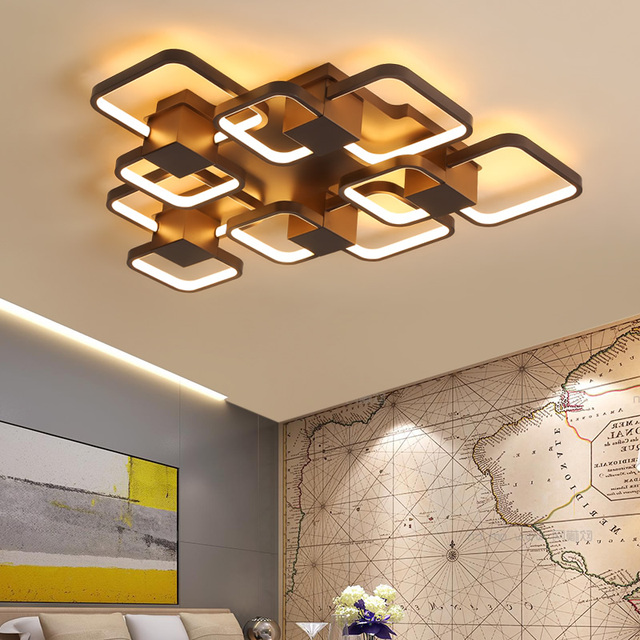 New Coffee Finished Modern led Ceiling Lights For Living Room Bedroom Study Room Home Deco 90-265V Ceiling Lamp Fixtures