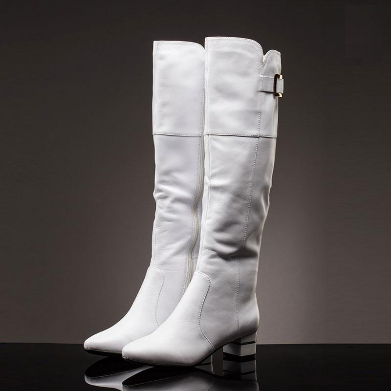 Basic Editions Women Winter Knee High Genuine Leather Zipper Low Chunky Heel Pointed Toe Long Boots - 4443-10-CM 2017 new arrival winter plush genuine leather basic women boots knight zipper round toe low heel knee high boots zy170904