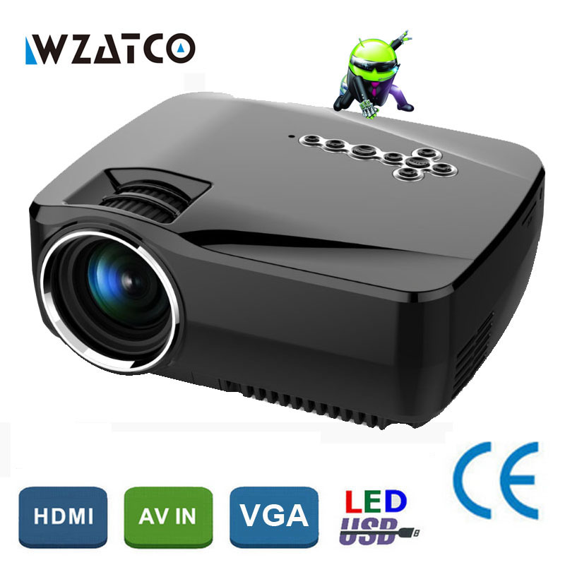 WZATCO GP70up Android 4.4 WiFi Bluetooth Smart hd beamer Portable Mini LED LCD game projector home theater Proyector Projetor arc knife milling cutter for wood router bit buddha beads ball knife woodworking tools wooden beads drill fresa para madeira
