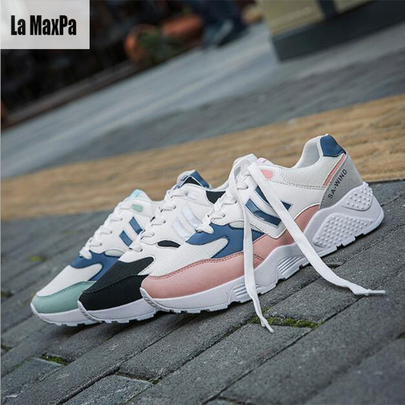 Woman Sport Sneakers For Adults Breathable Mesh Height Increasing Platform Running Sport ...