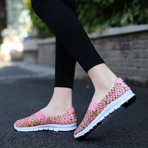 Image 5 - FEVRAL Brand Woman Woven Shoes Spring Flats Handmade Breathable Shallow Mouth Lazy Loafers Slip Resistant Soft Casual Shoes