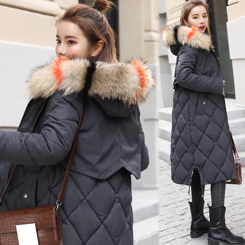 winter jacket women 2018 Large Fur collar hooded Cotton Padded Long coat women Parka Thicken Warm jacket Female Plus size long parka women winter jacket plus size 2017 new down cotton padded coat fur collar hooded solid thicken warm overcoat qw701