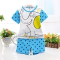 2016 New Baby Boy Clothes Summer Kids Active Sets t-shirt+pants Suit Blue Regular Character Newborn Sport Suits Cotton Clothing