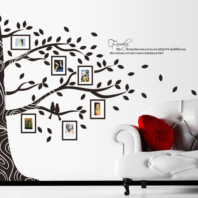 Large Vinyl Family Tree Photo Frames Wall Decal Sticker Vine Branch Removable Decor
