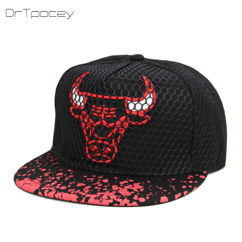 2018 Embroidery Bull Snapback Caps Men Street Black Baseball Cap Unisex Vintage Cotton Sun Hat Women Dad Hats Cap Couple Bone gold embroidery crown baseball cap women summer cap snapback caps for women men lady s cotton hat bone summer ht51193 35