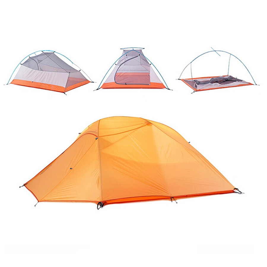 Outdoor Tent Camping 3 Persons 4 Season Double Layer Folding Tent Waterproof Portable Free Shipping mobi garden outdoor camping tent 4 seasons double layer aluminum tent two rooms big camping tent super large 3 4 persons tent