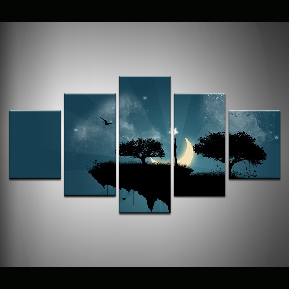 Home & Garden Art Pictures Living Room Decoration Kids Posters Modern 5 Panel Moon Star Steep Cliff Trees Swing Home Wall Hd Print Painting