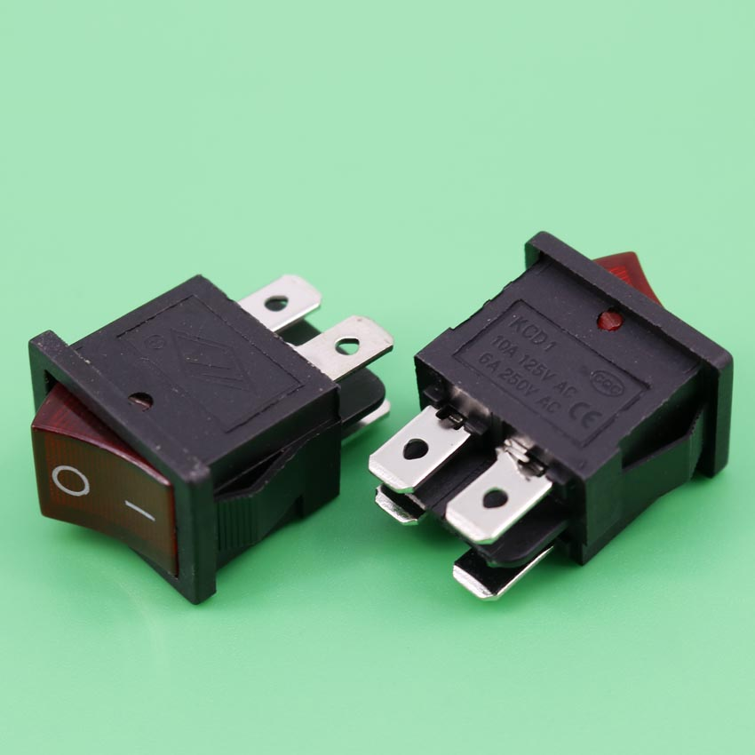 AC Red Indicator Light High Current Rocker Boat Switch DPST 4 Pins 2 Positions ON/OFF Snap-in Panel Mount ac 250v 15a 30a red indicator light 4 pin dpst on off rocker boat switch 3 pcs
