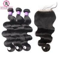 Vague de corps Brésiliens Bundles Cheveux Humains Avec Fermeture 4 Pcs/Lot 3 Vierge Cheveux Weave Ajouter Dentelle Fermeture Rosa Reine Cheveux produits