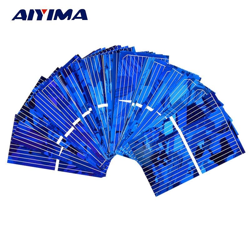 AIYIMA 100pcs Color Crystal Solar Panel Solar Cell 52*26mm 0.5V 450mA Solar Module DIY Sunpower Charger Power Bank