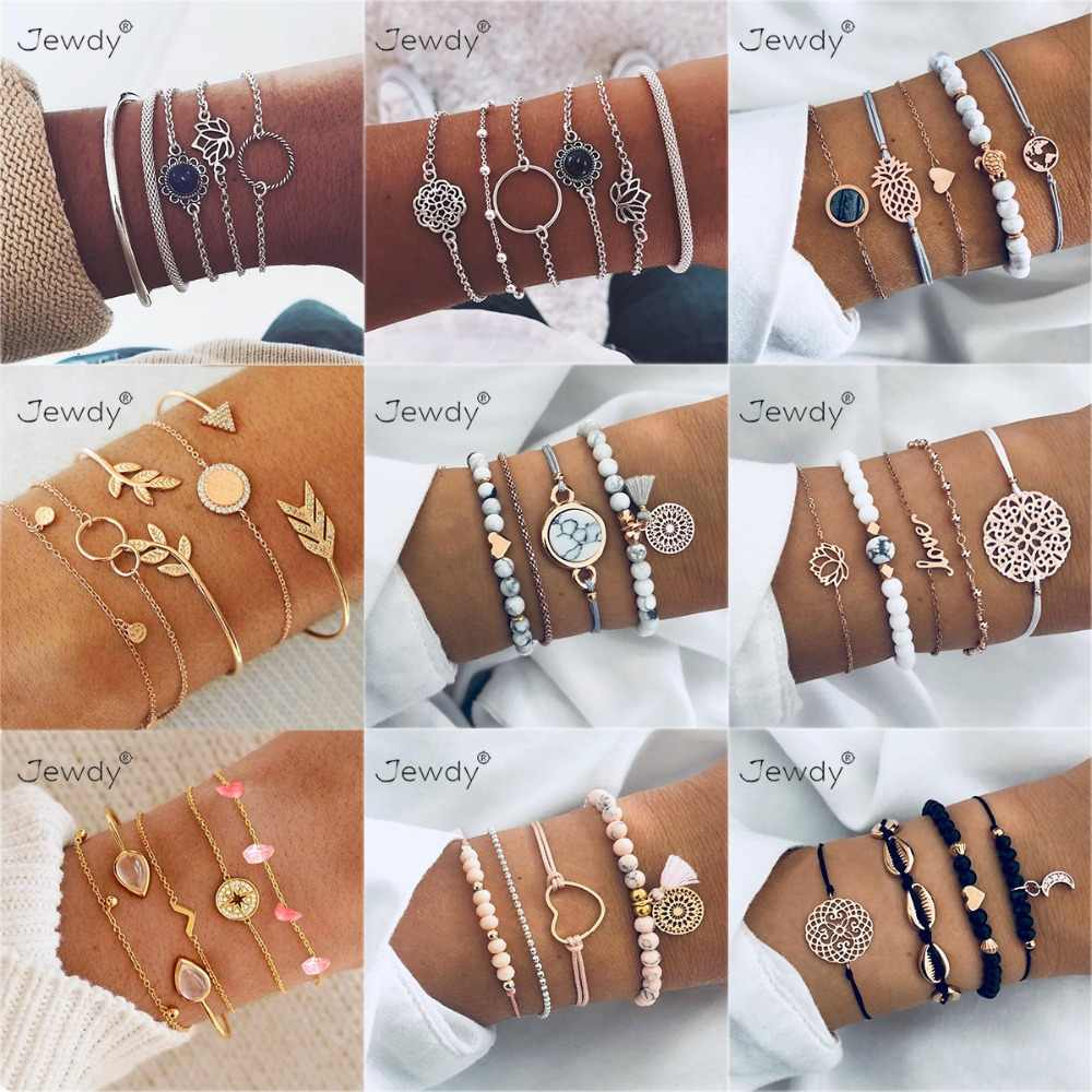 30 Styles Mix Lotus Shell Turtle Heart Wave LOVE Crystal Marble Stone Bracelets for Women Boho Tassel Bracelet Jewelry Wholesale