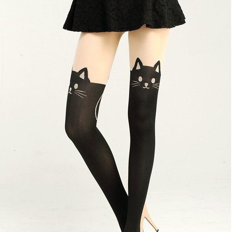 Sexy Women black Stockings Lady Cat Tail Over Knee Socks High Hosiery Tattoo Stockings
