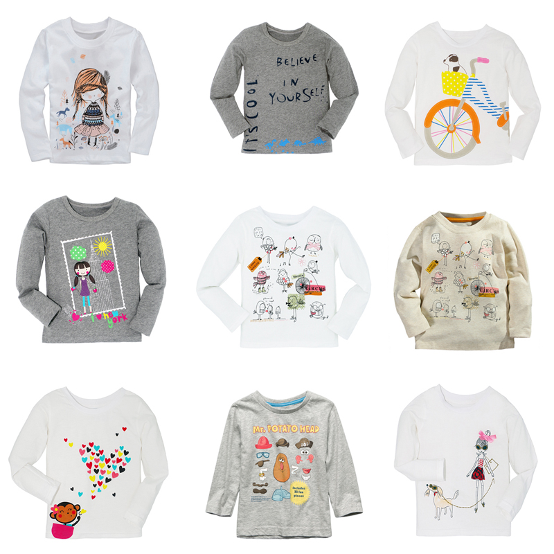 Free Autumn Winter 100% Cotton 9 Colors Kids Tees Boys Girls Long Sleeve T shirts Baby Boy Girl Tops Children Clothes T-shirt