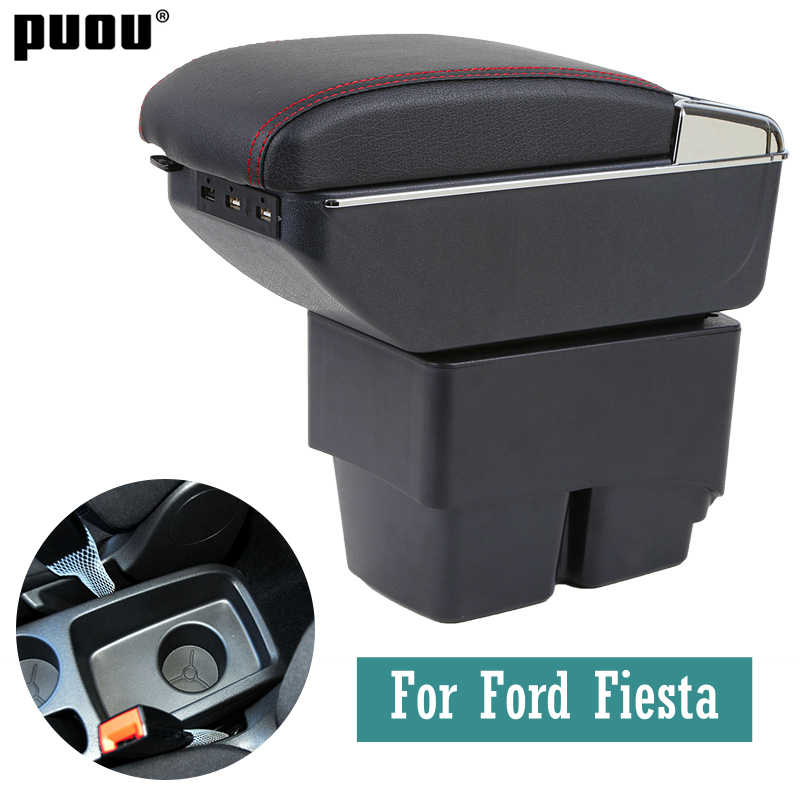 For Ford Fiesta 2009-2017 armrest box central Store Centre Console box with cup holder