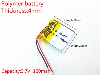 3.7V,120mAH,402020 Polymer lithium ion / Li-ion battery for TOY,POWER BANK,GPS,mp3,mp4,cell phone,speaker image