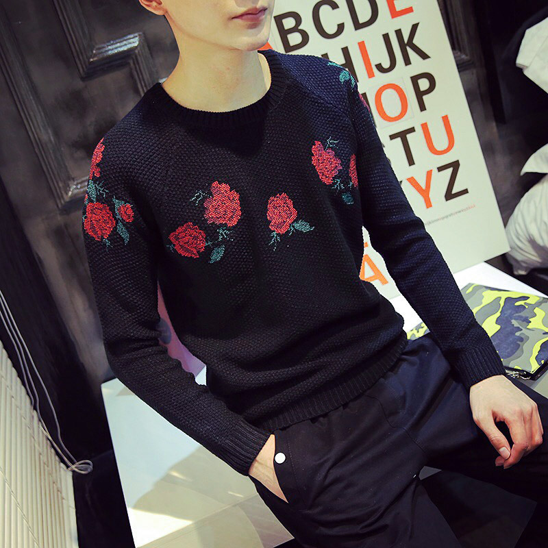 Rose Sweater Mens New 2015 Winter Pattern Knit Sweater Men Embroidery  Sweaters Popular Cotton Wool Hedging Sweater Coat