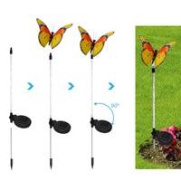 3pcs Garden Solar Lights Outdoor Multi color Changing LED Fiber Optic Butterfly Decorative Light JA55